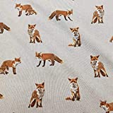 Stoff Meterware Baumwolle Natur Fuchs Füchse Herbststoff