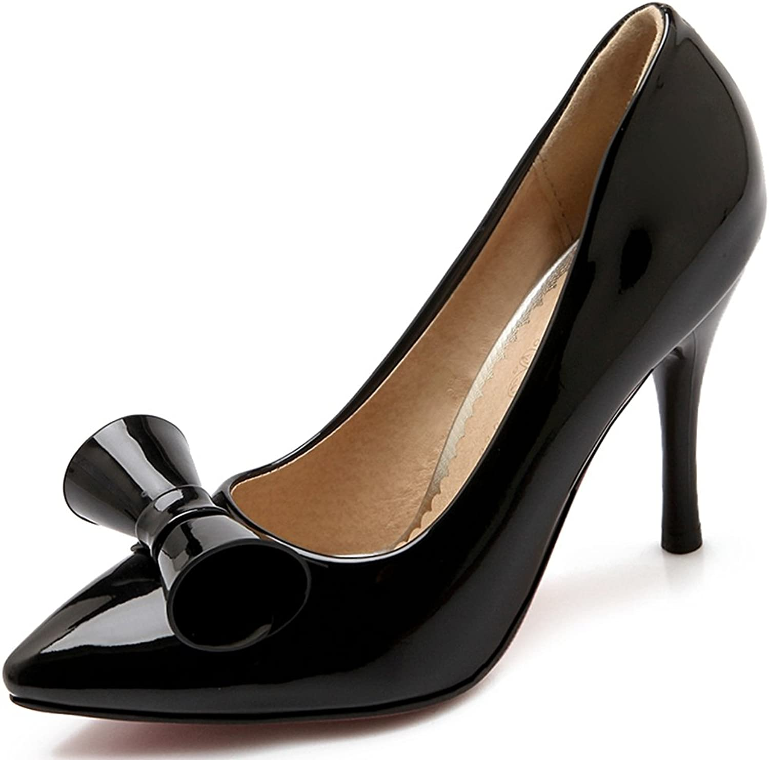 KingRover Women's Trendy Pointed Toe High Heel Stilettos Patent Leather Pumps with Bow Size 4-10.5 US