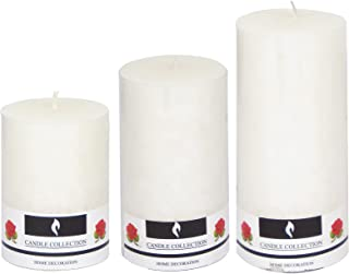 Oussum Scented Pillar Candles with Highly Fragranced Aroma Wax Candle Set for Home Decor (White)