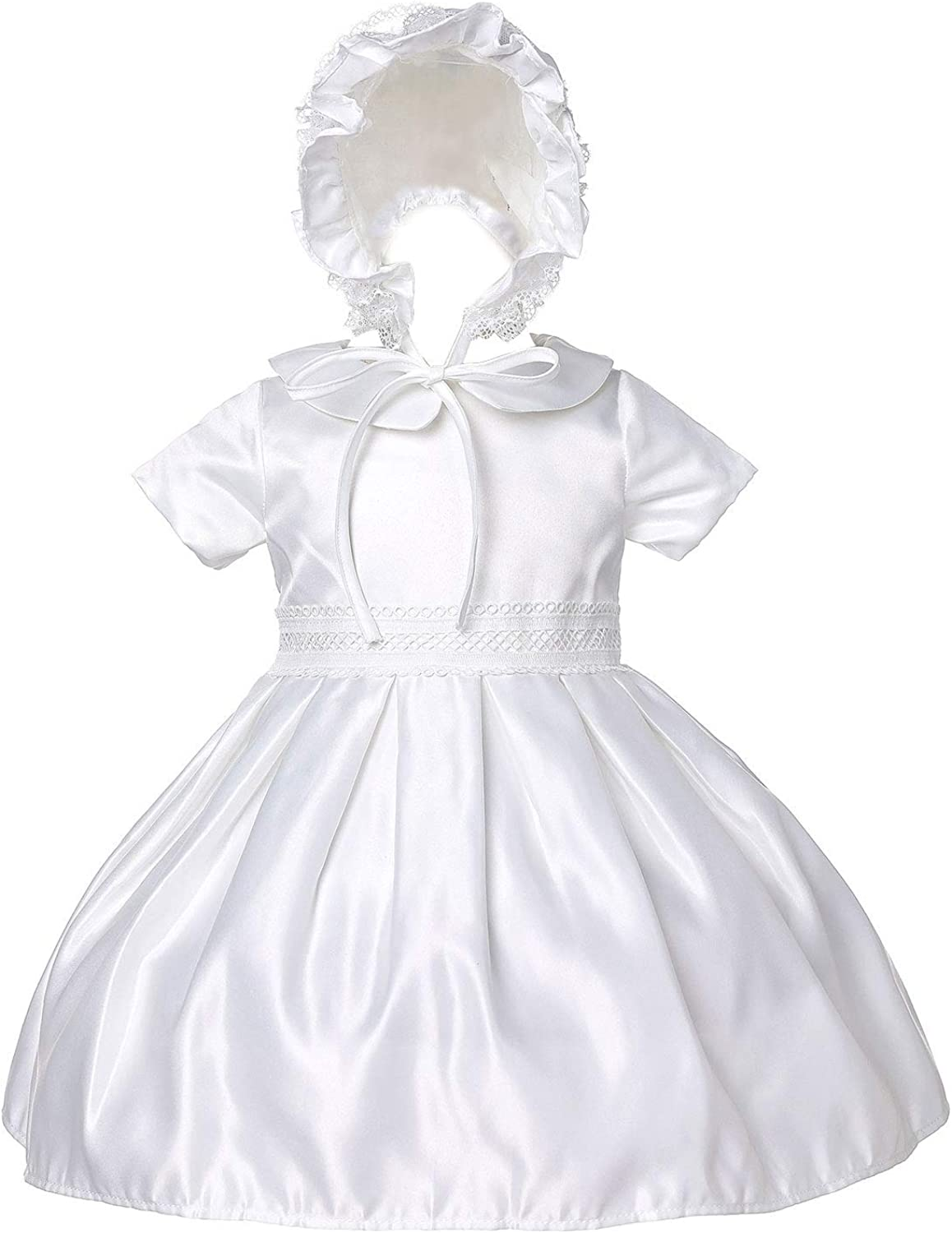 Baby Girls Baptism Dresses, Christening Gifts Gowns Outfit with Bonnet, Off White