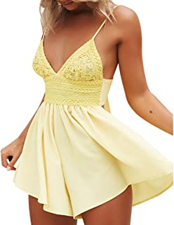 d8b557f2d389 Alixyz Women V Neck Spaghetti Strap Jumpsuit Summer Bowknot Backless  Evening Party Beach Rompers
