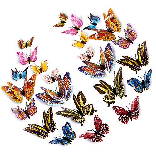 Décoration de Noël Sticker mural de Noël Lot de 12 stickers muraux 3D en forme de papillon pour décoration murale de chambre d'enfant