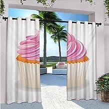 Rideaux imperméables pour intérieur/extérieur - Pour terrasse - Illustration d'un cupcake rose - Délicieux dessert - Isola...