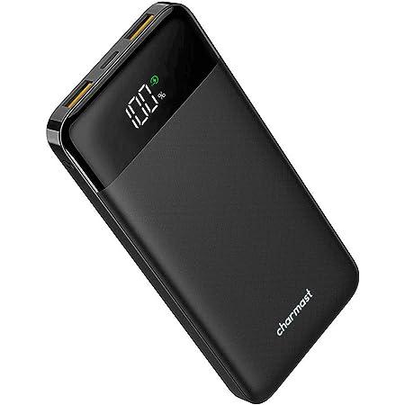 Charmast モバイルバッテリー PD QC3.0 USB C 10400mAh 薄型 軽量 LED 小型 LCD 残量表示 コンパクトミニ 【PSE認証済み】 バッテリー 携帯 スマホ 充電器 持ち運び充電器 USB充電 iPhone/iPad/Android/Type-C対応 黒