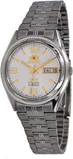 Orient FAB04004W Men's 3 Star Stainless Steel Day Date White Dial Automatic Watch