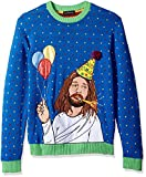 Blizzard Bay Men's Sad Jesus Birthday Ugly Christmas Sweater, blue, X-Large