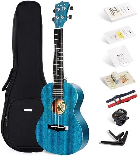 Enya Concert Ukulele 23 Inch Blue Solid Mahogany Top with Ukulele Starter Kit Includes Online Lessons, Tuner,Case, St...