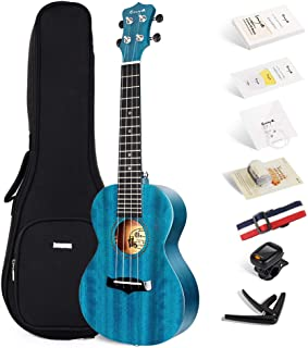 Enya Concert Ukulele 23 Inch Blue Solid Mahogany Top with Ukulele Starter Kit Includes Online Lessons, Tuner,Case, Strap, Strings, Capo, Sand Shaker, Pick,Polish Cloth (EUC-25D BU)