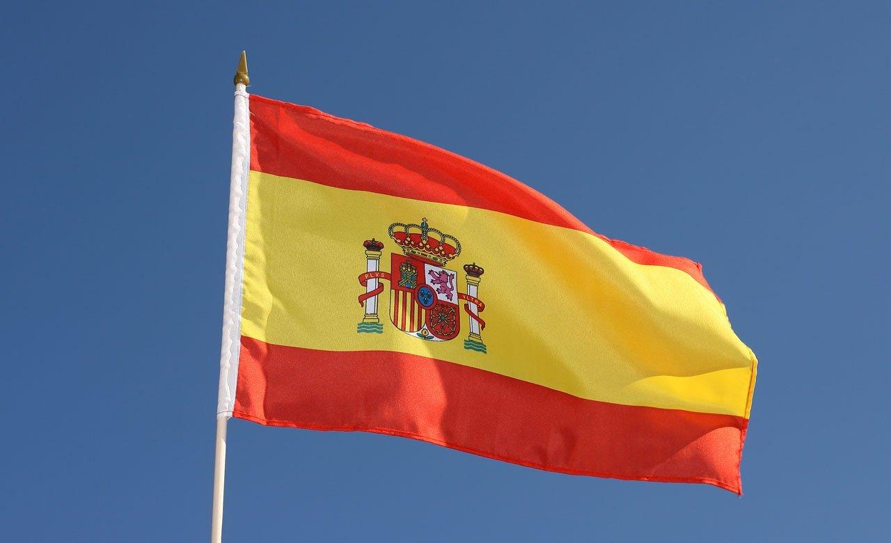 Bandera de España Bandera de mesa 20 x 30 cm y 42 cm de mástil de ...