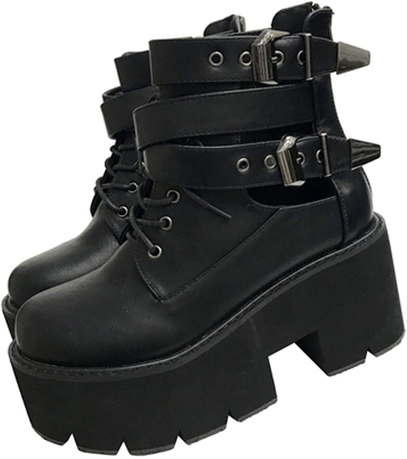 Pretty-sexy-toys Punk Boots Buckle Bottes women Platform Boots High Heel Winter Autumn shoes Motorcycle Boots Women Fashion Fall Boots,Black,6