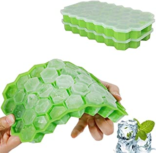 2Pcs Silicone Honeycomb Shape Ice Cube Cubes Mold Stacking Ice Cube Tray Storage Containers-Pausseo 8.1 x 4.7 x 0.9 inch-Flexibility Ice Lattice Maker Tray for Beer/Red Wine Storage/Fruit Drinks