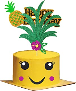 Glitter Pineapple Cake Topper and Pineapple Happy Birthday Cake Topper Tropical Hawaiian Aloha Luau Themed Party Cake Party Supplies Baby Shower