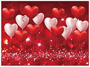 Allenjoy 8x6ft Valentine s Day Backdrop Red Hearts Balloons Love Theme Party Supplies for Engagement Wedding Bridal Shower Fabric Photography Background Studio Portrait Pictures Shoot Props Favors