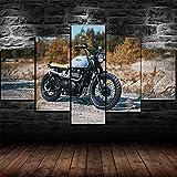 axqisqx 5 Pezzi Casa Moderna Stampa su Tela Murale Poster di Immagini d'Arte Regalo Camera da Letto del Salone Decor Modulare Moto Triumph Bonneville 100x55cm-Telaio