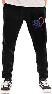 Leo Zodiac Symbol Sun Planet Athletic Sweatpants for Men Casual Jogger Trousers