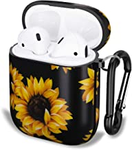 NASOUSA for Airpods Case with Keychain,TPU Gel Printing Designs Shockproof Protective Premium Cover Skin with Anti-Lost Carabiner for AirPods 1/2 Charging Case(Sunflower)