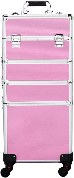 Valigia porta trucchi estetista beauty case parrucchiere 34 x 25,5 x 100 cm rosa yaheetech trolley YA-00067975