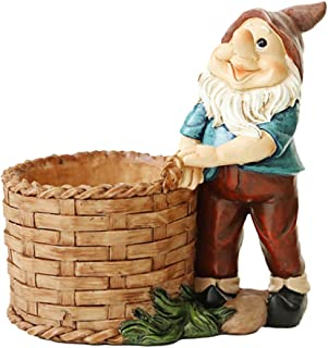 NUOBESTY Miniature Gnome Figurines Fairy Garden Gnome Statues Micro Landscape Decoration Plant Flower Pots Ornaments Cake ...