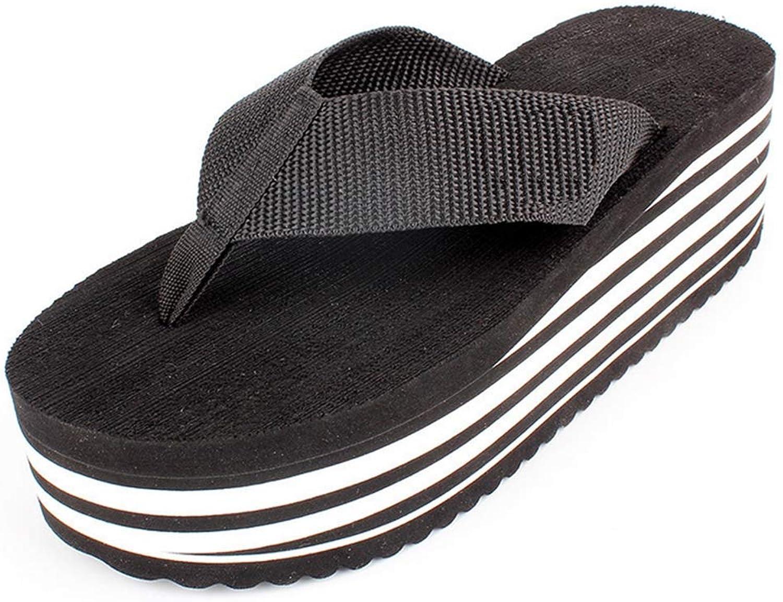 Sandals Flip Flops for Women High Wedge Platform Comfortable Sturdy Nylon Straps Slippers Beach Thong