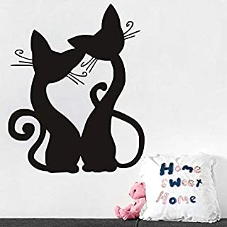 3D Wall Stickers Two Cartoon Kittens Black Carved Wall Stickers Removable Living Room Bedroom Wall Sticker