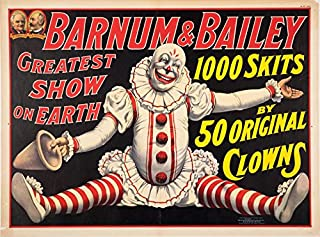 A SLICE IN TIME Barnum & Bailey 50 Original Clowns Greatest Show on Earth United States Vintage Circus Travel Wall Decor Advertisement Art Poster Print. Measures 10 x 13.5 inches