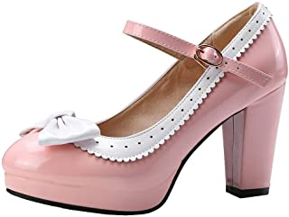 LUXMAX Womens Lolita Patent Leather Mary Janes Bow Chunky Heel Pumps Rockabilly Platform Shoes