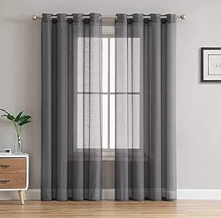 HLC.ME 2 Piece Semi Sheer Voile Window Curtain Drapes Grommet Panels for Bedroom, Living Room & Kids Room (54
