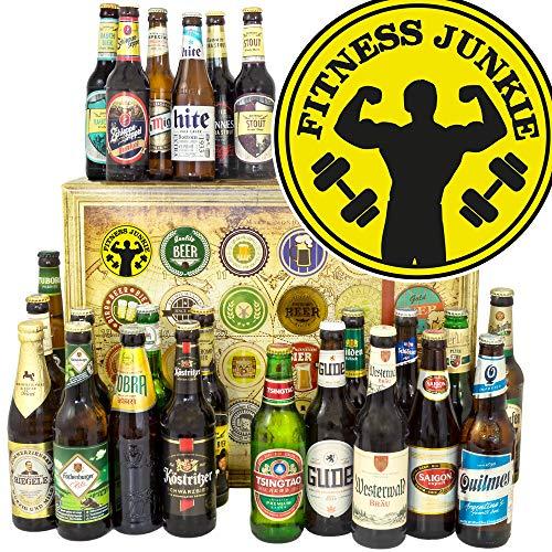 Fitness Junkie/Bier Paket Welt und DE / 30 Jahre Geburtstag Geschenk/Adventskalender Bier Männer