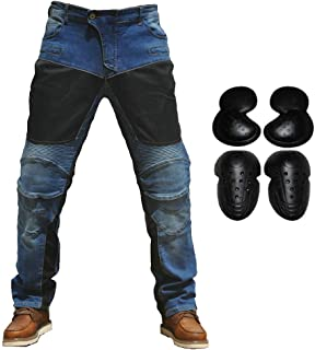 2019 Men Motorcycle Riding Jeans Armor Racing Cycling Pants with Upgrade Knee Hip Protector Pads (Blue, M=30)