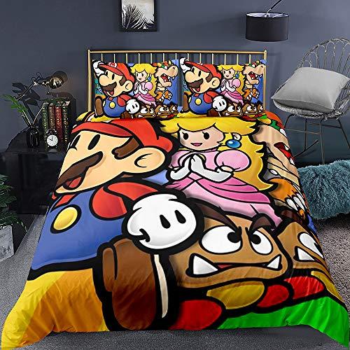 YOMOCO Super Mario Juego de ropa de cama – Funda nórdica y funda de almohada, microfibra, impresión digital 3D de tres piezas (12 individual, 135 x 200 cm)
