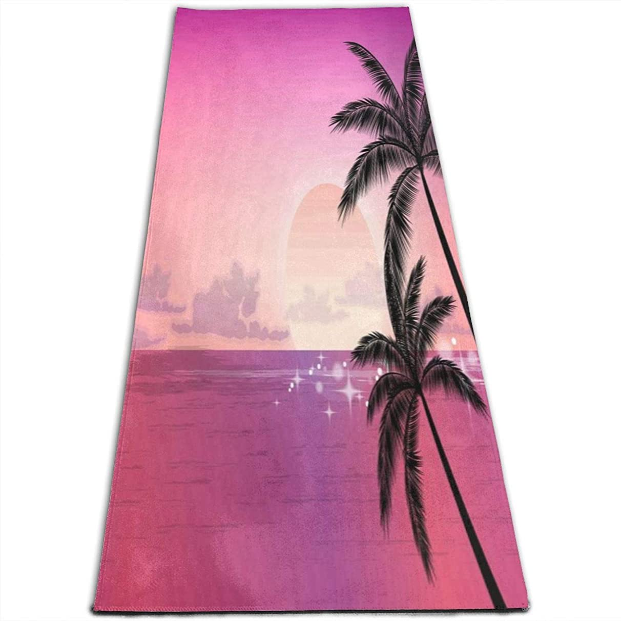 EJudge Yoga Mat Beautiful Sunset Palm Tree Cool 1/4-Inch Thick Sports Mats for Pilates, Fitness & Workout