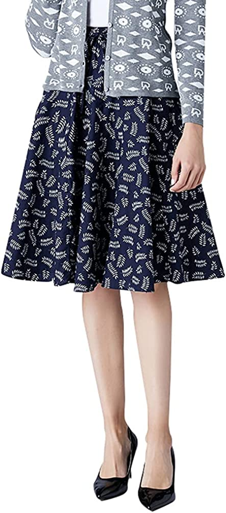 Women's Summer Skirts Knee Lenght high and Elastic Waist Cotton Printing