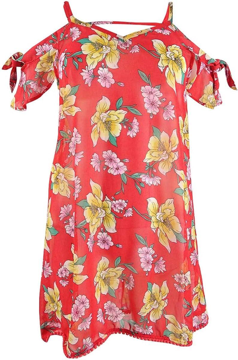 Miken Women's Printed Cold-Shoulder Dress Swim Cover-Up