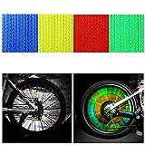 Tagvo bicicleta Spoke reflector 4 unidades/48 piezas (12 x azul + 12 x verde + 12 x rojo + 12 x amarillo) para bicicleta Ciclismo reflectante clips para niños adultos