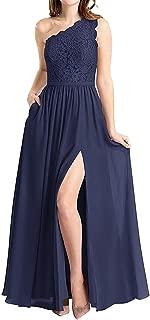 Molisa Women's One Shoulder Long Evening Dress Lace Chiffon Bridesmaid Dress Side Split Prom Gowns