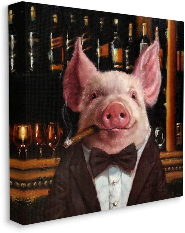 Stupell Super special price Industries Classy Pig at Painting Cigar Bar Animal Farm Seattle Mall