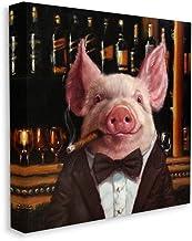 لوحة فنية جدارية على شكل حيوانات من Stupell Industries Classy Pig at Cigar Bar Farm ، 76.2 سم × 76.2 سم، بني