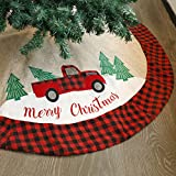 Juegoal Christmas Burlap Tree Skirt 48 Inch Soft Christmas Tree Mat for Xmas Party Decorat...