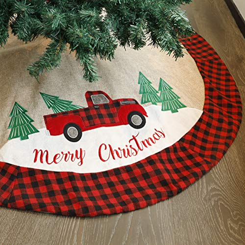 Juegoal Christmas Burlap Tree Skirt 48 Inch Soft Christmas Tree Mat for Xmas Party Decoration, Christmas Tree Holiday Décor