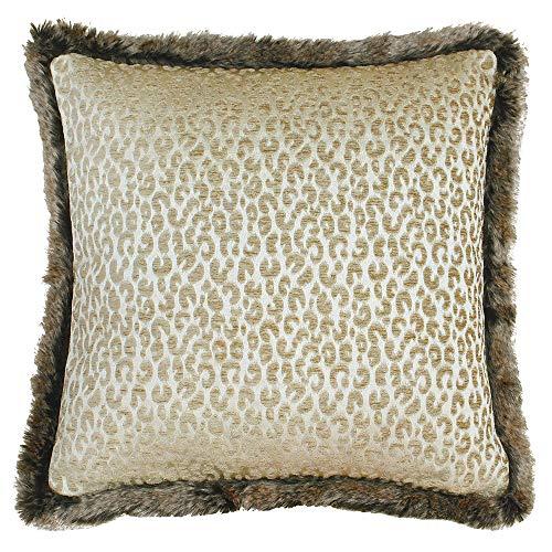 Riva Paoletti Botswana Veer Gevuld Kussen Beige-Luipaard dier Print-Metallic Chenille Fabric-Faux Bont Gevulde randen-100% Polyester-45 x 45cm (18