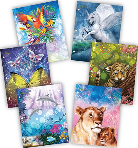 New Generation – Animals Fantasy - School Supplies 2-Pocket Folder Value Pack with Assorted Fashion Eye-Catching Designs – Durable Laminated Letter Size Set - 6 Pack School, Home, Folders