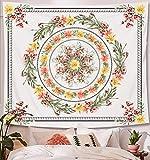 Zodight Tapiz de Pared Flor, Tapices Mandala Tapices Indios Hechos a Mano, Tapiz Psicodélico Bohemio con Patrón Floral, para Dormitorio, Salón, Toalla de Playa, Yoga, Alfombra Picnic