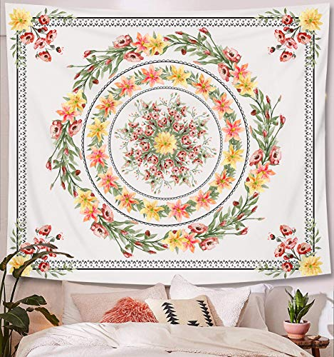 Zodight Tapiz de Pared Flor, Tapices Mandala Tapices Indios Hechos a Mano,...