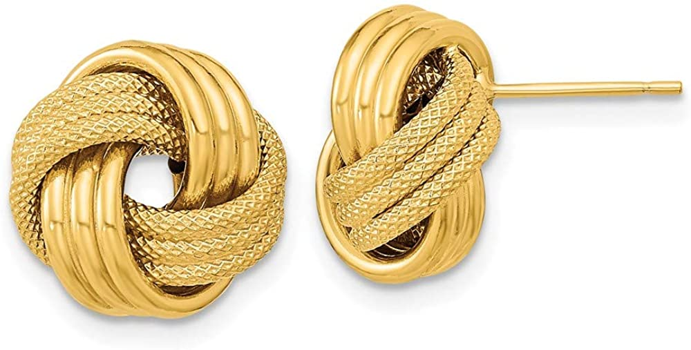 14k Yellow Gold Textured Triple Love Knot Post Stud Earrings Ball Button Fine Jewelry For Women Gifts For Her