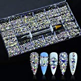 400pcs Mixed Shape Glass Crystal Rhinestones Diamonds Nail Crystal Non Hotfix Flatback Nail Art Rhinestone Crystals Stone Decoration with Picking Pen (AB, 20 Styles/Box)