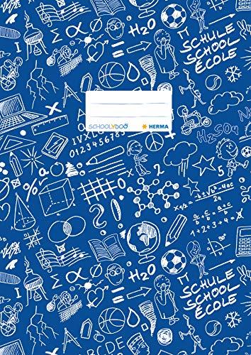 HERMA 19404 Heftumschlag DIN A4 SCHOOLYDOO, mit Beschriftungsetikett, aus strapazierfähiger und abwischbarer Polypropylen-Folie, 1 Heftschoner für Schulhefte, blau