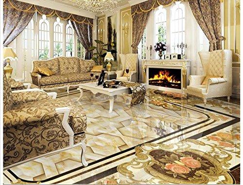 Mznm 3D Wallpaper Custom 3D-vloerbedekking schilderen Wallpaper muurschilderingen in Europese stijl vaste steen spelling Een bloem 3D kamer Foto Wallpaer 120 x 100 cm.
