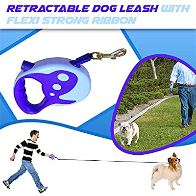 #1 Rated Retractable Dog Leash with Flexi Strong Ribbon, Heavy Duty Yet Light with Ergonomic Design and Great for Dog Walking.100% Satisfaction Guarantee