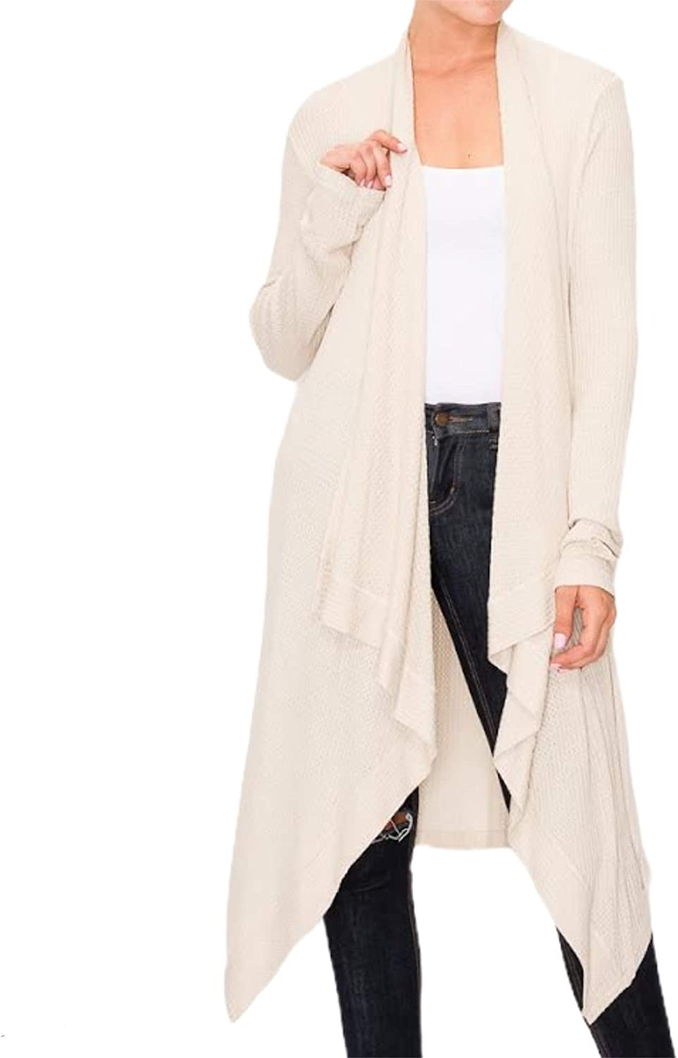 Cascade Front Knit Duster Cardigan is Made from a Super Soft and Stretchy Rayon Waffle Fabrication