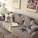 YUTJK Europeo Fundas de Sofá,Dos Plazas Antideslizante Funda para Sofá,Cubre Sofá para Chaise Long Rinconera,Cubierta de sofá de algodón de Dormitorio de impresión Estrella-Gris_110×160cm
